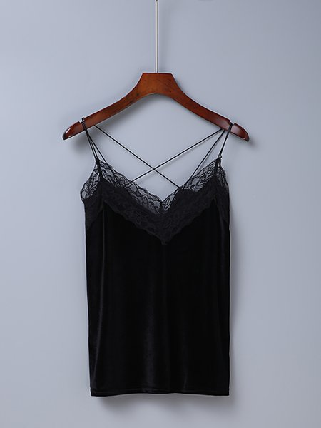 Say Hey Black Lace Trim Spaghetti Cami Top