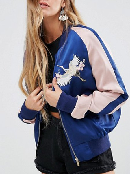 Run Around Blue Embroidered Bomber Jacket
