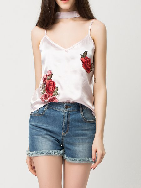 Current Obsession Pink Floral Cami Top with Tie
