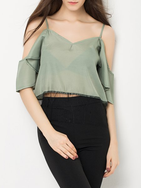 Sweet Escape Olive Green Paneled Cold Shoulder Top