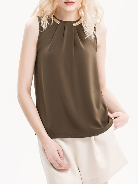 Over The Edge Brown Basic Embellished Tank Top