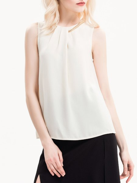 Over The Edge Beige Basic Embellished Tank Top