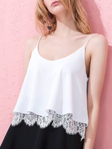 Off My Rocker White A-line Solid Paneled Cami
