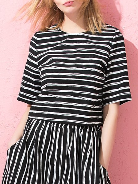 Get Some Stripes Black Zipper Crop Top