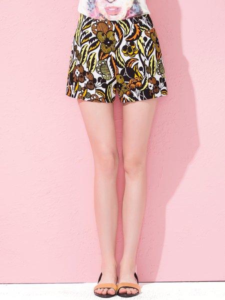 Step Back Yellow Printed Floral Shorts