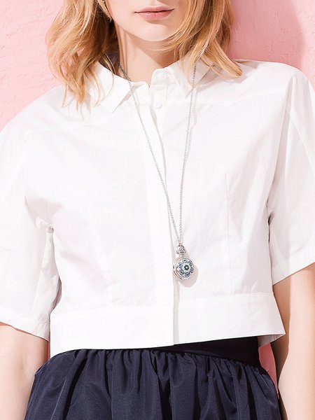 Leisure Time White Shirt Collar Crop Top
