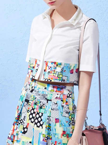Leave It To Me White Printed Shirt Collar Crop Top