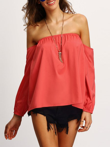 Soft Spot Coral Solid Off Shoulder Top