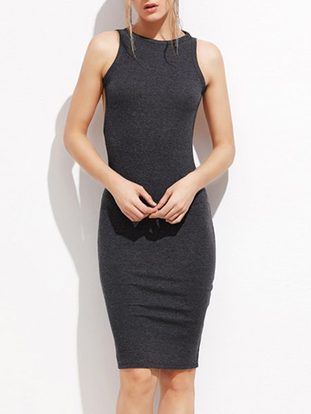 Open To Anything Ggray Backless Solid Dress