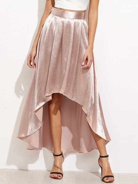 Body Talk Pink Solid Elegant High Low Skirt