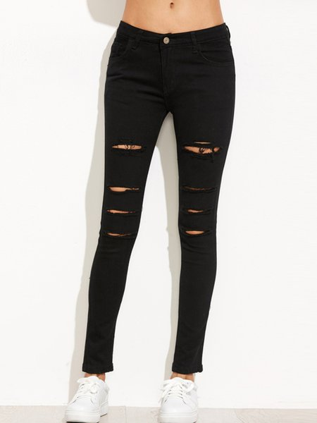 Everyday Black Street Ripped Denim Pants