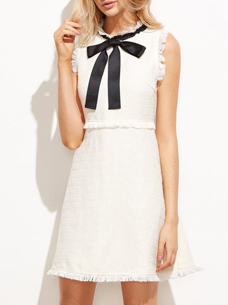 Nothing But Love White Sleeveless Solid Bow Dress