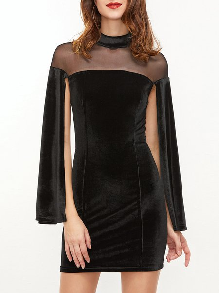 Velvet Dreams Black Slit Sleeve Stand Collar Dress