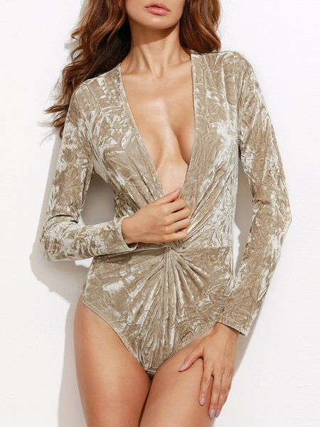 All Figured Out Beige Gathered Plunging Bodysuit