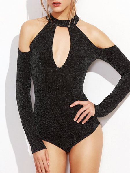 Beam Me Up Gray Cold Shoulder Bodysuit