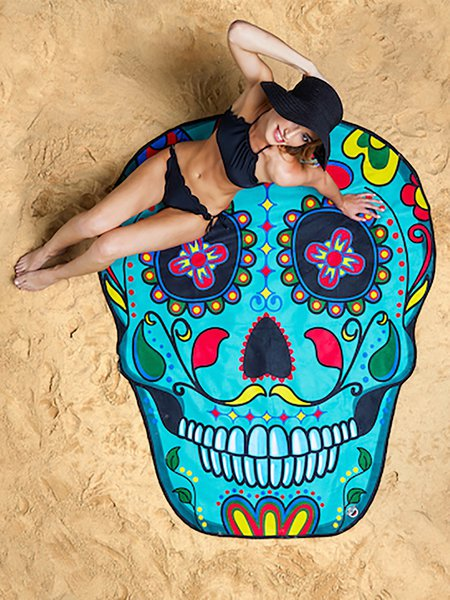 To The Seaside Blue Skull Shaped Blanket