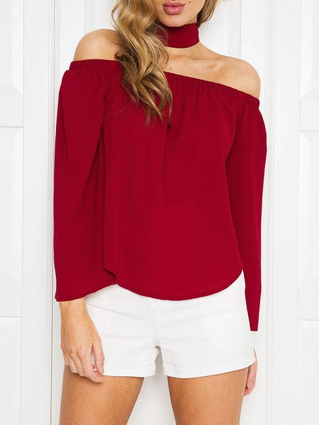 Chic Flick Burgundy Off Shoulder Top with Tie