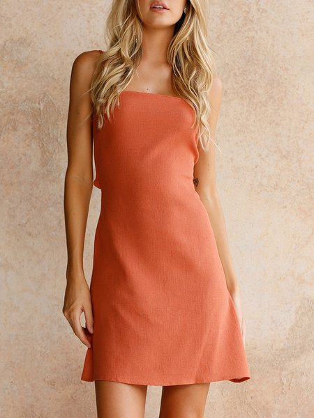 Clear The Air Orange Open Back Bow Dress