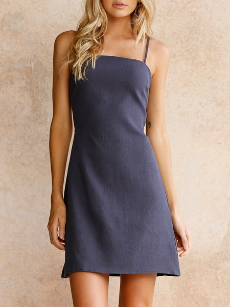 Clear The Air Dark Blue Open Back Bow Dress