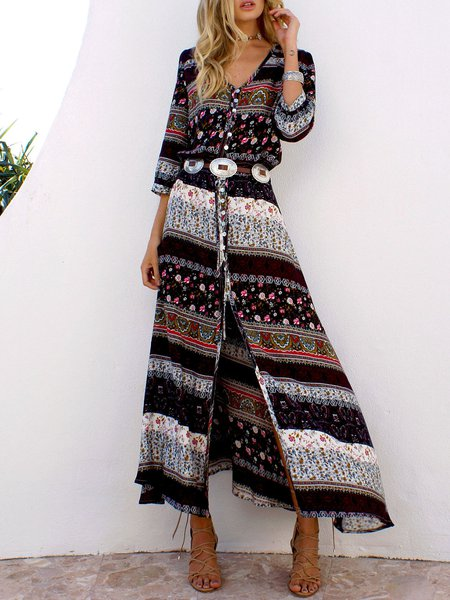 Only With You Brown Printed Tribal Dress