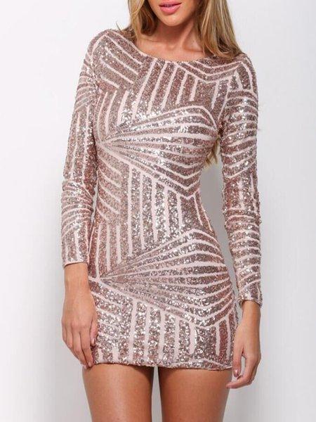 Sparkle Eyes Champagne Sequins Cutout Back Dress