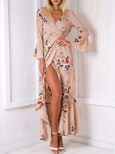 Set Sail Apricot Bell Sleeve Floral Wrap Dress