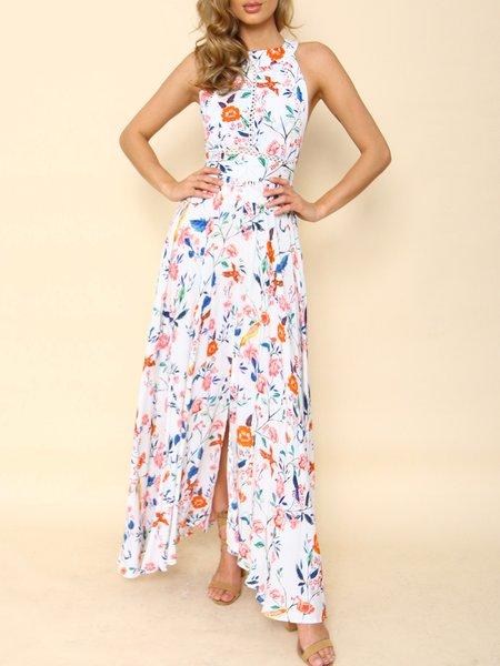 Spinning Round White Cutout Back Asymmetrical Dress