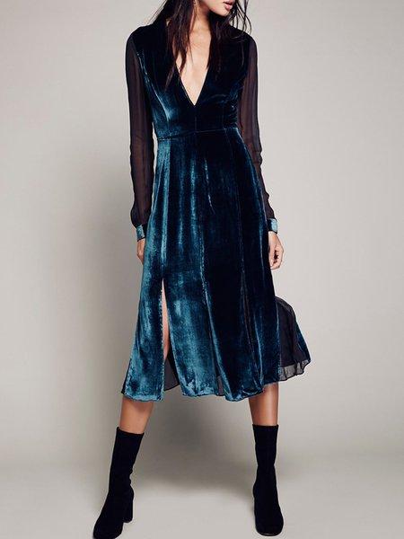Twice Shy Blue Paneled Velvet Slit Dress