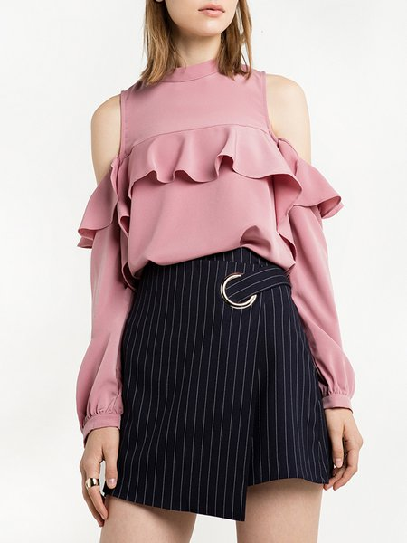 My Babes Pink Ruffled Cold Shoulder Top