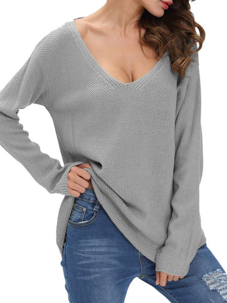 Indulged In V Neck Solid Long Sleeve Sweater