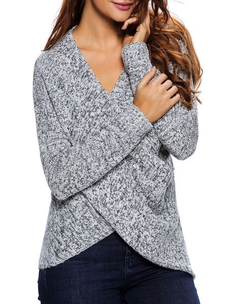 Cross Wrap Gray Solid Sweater