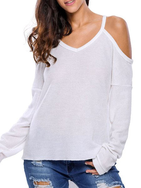 Casual Days White Cold Shoulder Sweater