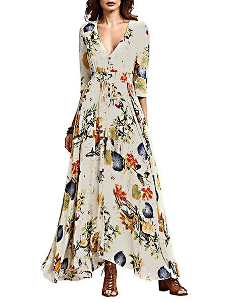 Going Far Beige V Neck Slit Graphic Swing Dress