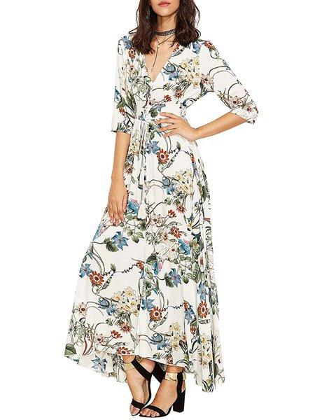 Going Far White Floral Slit Swing Dress