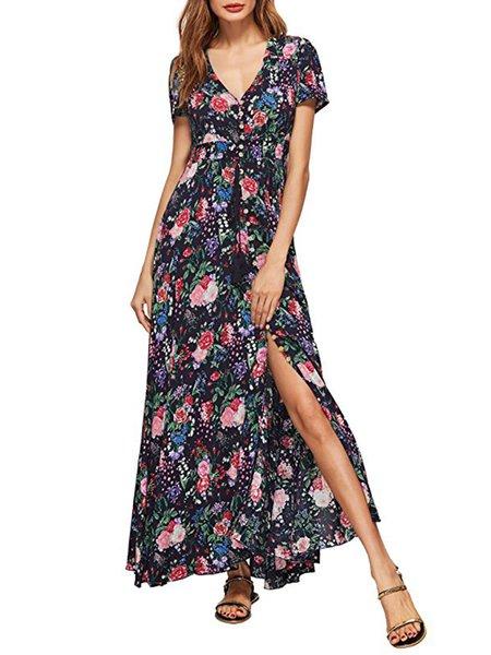 Jungle Party Black Floral Slit Short Sleeve Dress