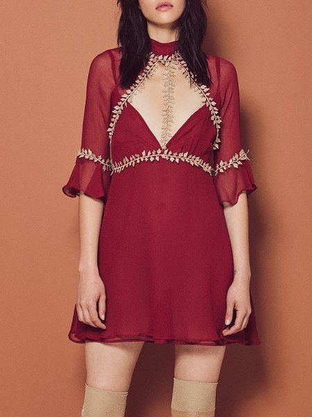 Nocturnal Red Stand Collar Cutout Elegant Dress