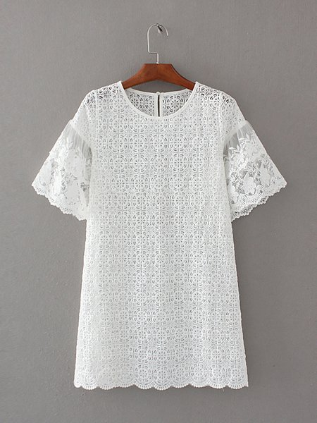 Youthful White Short Sleeve Lace Dress