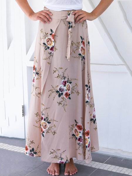 Glamour Queen Khaki Floral Boho Wrap Skirt