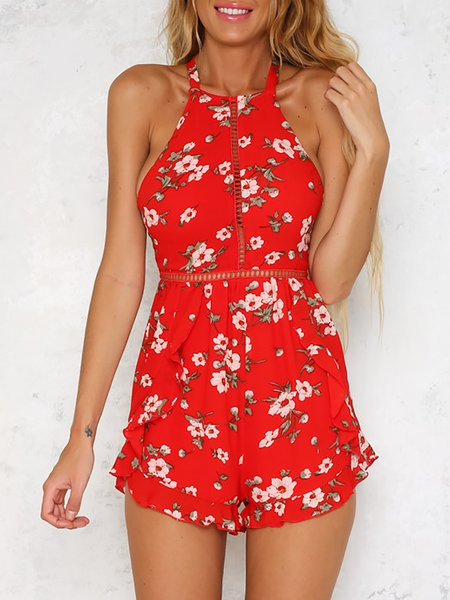 Set You Free Red Backless Halter Pierced Romper