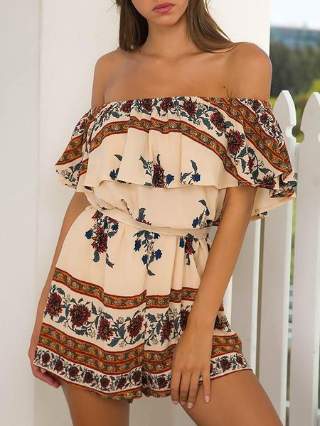 All For You Khaki Boho Off Shoulder Tribal Romper