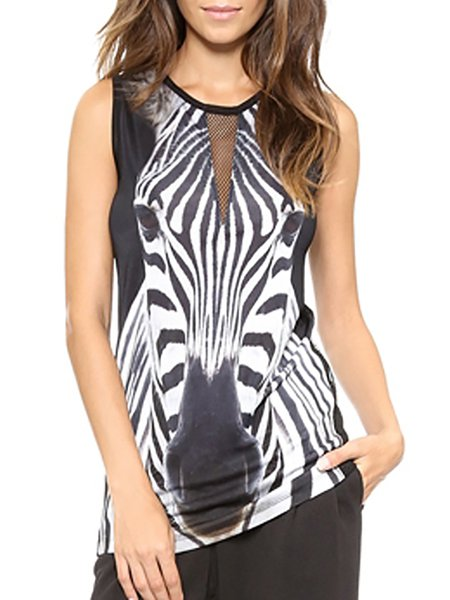 Time Square Black Zebra-print Sleeveless Tank