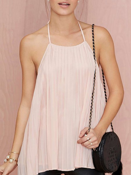 Be My Girl Pink Backless Halter Pleated Cami