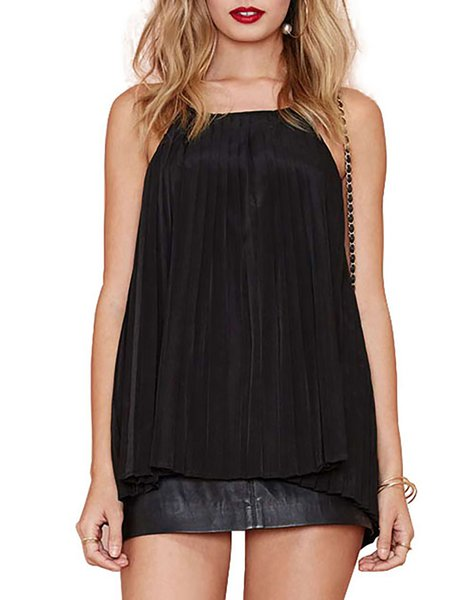 Be My Girl Black Halet Backless Pleated Cami