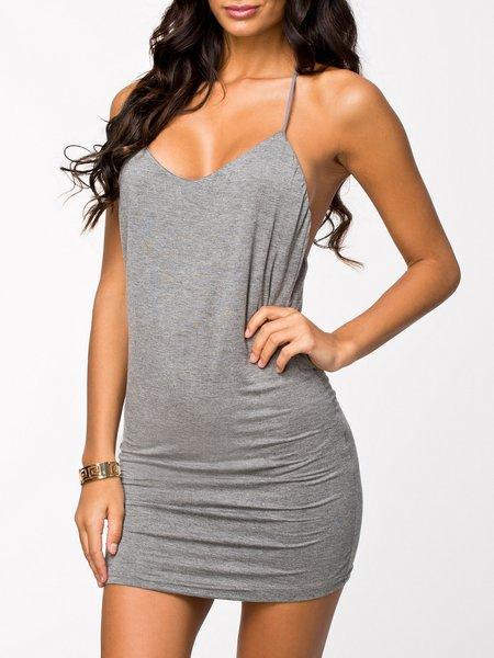 After Dark Gray Solid Backless Halter Dress