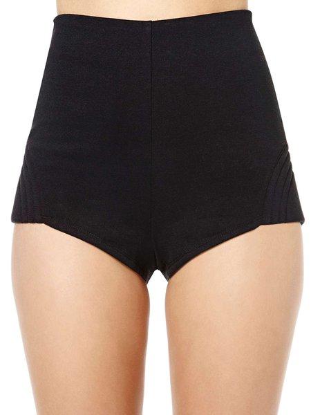 Love Sports Black Solid Zipper Shorts