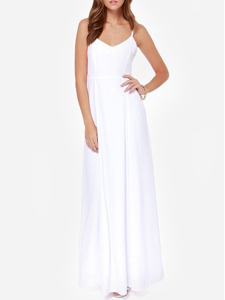 Time to Go White V Neck Spaghetti Solid Dress