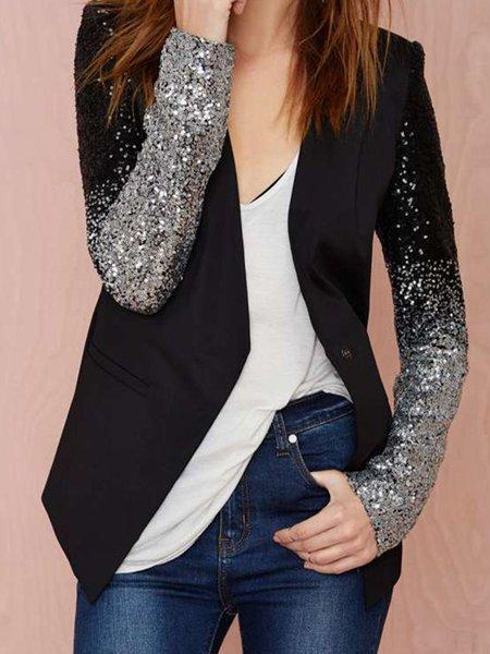 Confident Fit Black Embellished Solid Lapel  Blazer