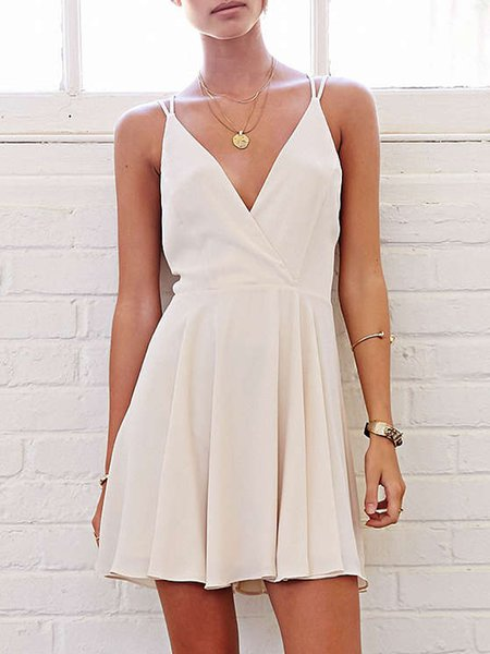 Wine It Up White V Neck Strappy Back Dress