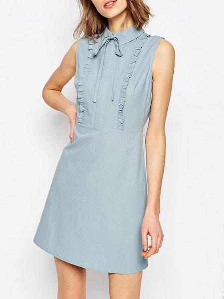 Sun Dweller Gray Solid Sleeveless Dress