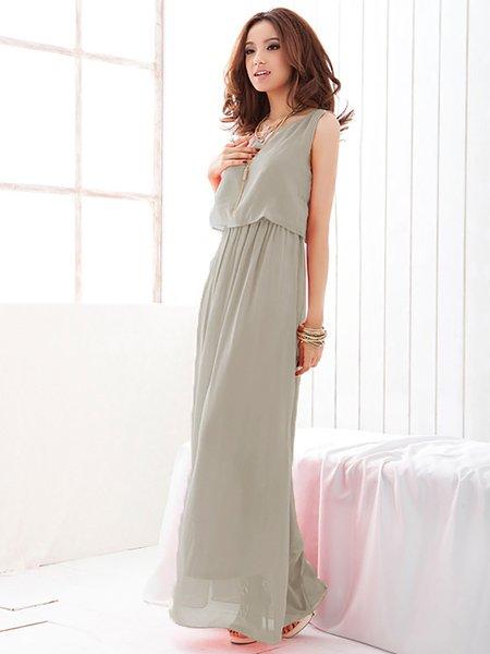 Asymmetric Boho Sleeveless Chiffon Solid Dress